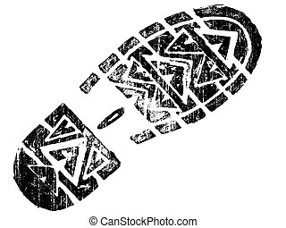 Grungy Boot Print - Highly detailed vector of a mountain boot- transparent vector so it can be overliad onto other graphic elements