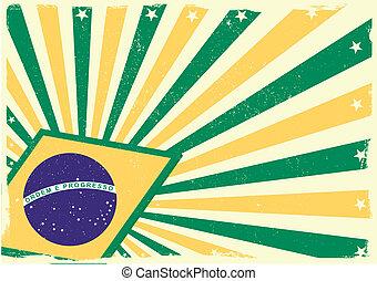 grungy, braziliaanse vlag, achtergrond