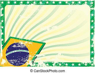 grungy brazilian flag background