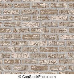 Grungy Brick Pattern Beige - Vector seamless beige brick ...