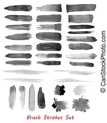 Grungy brush strokes set over white background. Elements for...