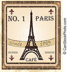 grungy, café, francês, fundo