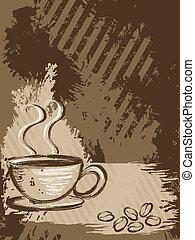 grungy, café, vertical, fond