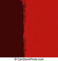 grungy, caja oscura, en, rojo, acanalado, hechaa mano