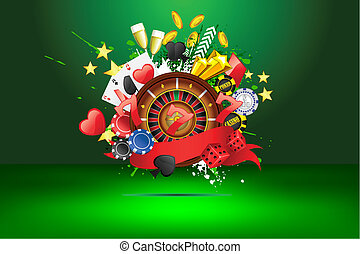 Grungy Casino - illustration of casino object on abstract...
