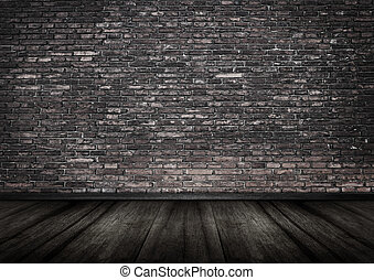 grungy, ceglana ściana, wewnętrzny, backgrou