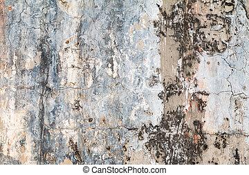 Grungy cement cracks wall texture.