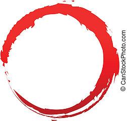 grungy, cercle, rouges