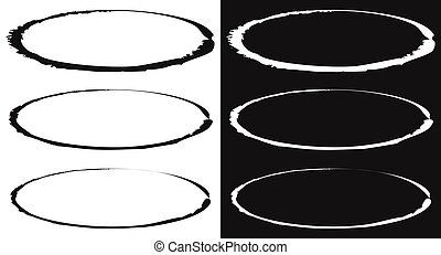 Grungy circle element set - Circles with smudged, smeared ...