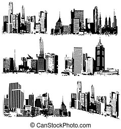 illustration of set of grungy cityscape silhouette on white background