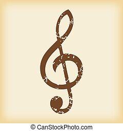 grungy, clef triple, icône