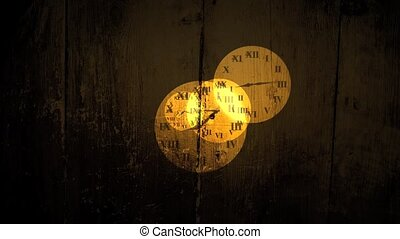 Semi-transparent old fashioned clock faces fly towards the camera over grungy wood texture. The first and last frame match for looping possibilities. HD 1080p quality 29.97fps.