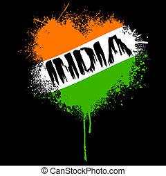 grungy, colorare, bandiera, indiano, cuore