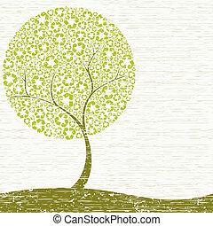 grungy, conceito, árvore, reciclagem
