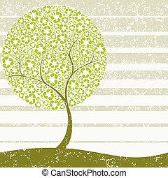 grungy, concetto, albero, riciclaggio