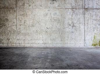 grungy, concrete muur, vloer