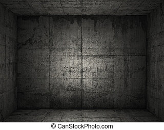 grungy concrete room 2 - Very grungy and dark concrete room ...