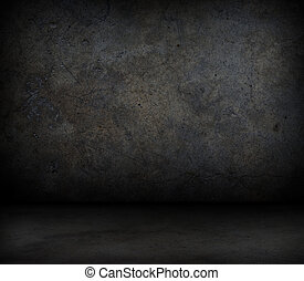 grungy, concreto, parede, chão