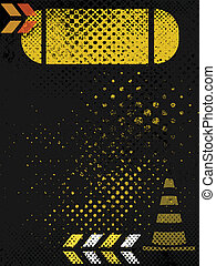 Grungy construction poster background - A black and yellow...