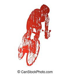 grungy, cyklist, abstrakt