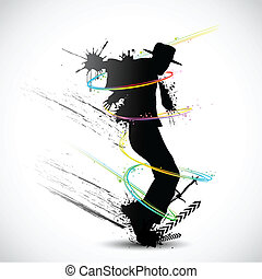 illustration of dancer with grunge and colorful swirl