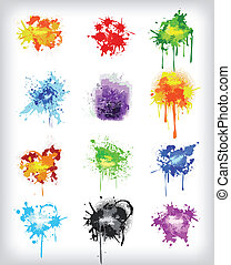 Grungy design colorful elements. Vector set
