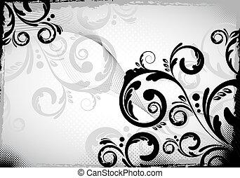 grungy, disegno floreale, nero