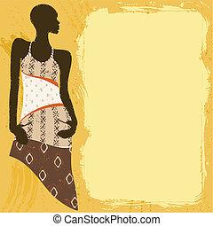 grungy, donna, bandiera, africano