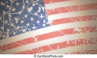 grungy, drapeau, animé, usa, fond