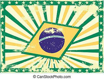 grungy, drapeau, fond, brésilien