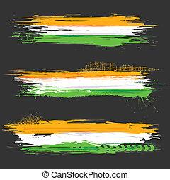 grungy, drapeau, indien, bannière