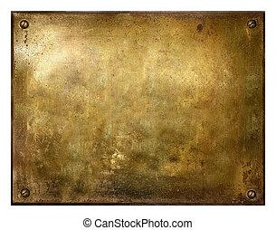 grungy, escovado, bronze, sinal