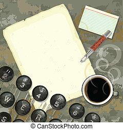grungy, escritores, escrivaninha, com, máquina escrever