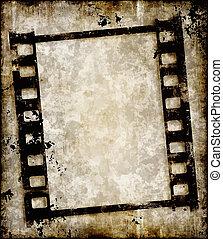 grungy, faixa película, ou, foto, negativo