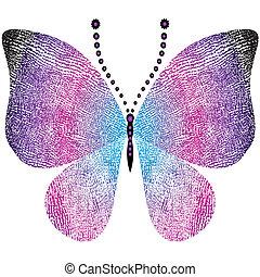 grungy, fantasia, borboleta, vindima