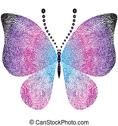 grungy, fantasia, farfalla, vendemmia