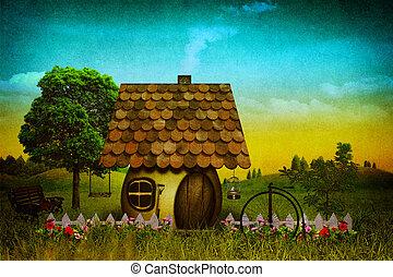 grungy, fantasie, landscape, met, ouderwetse , karton, textuur, toegevoegd