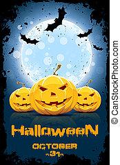 grungy, festa,  Halloween, fondo