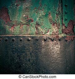grungy, festett, berozsdásodott, vas, struktúra