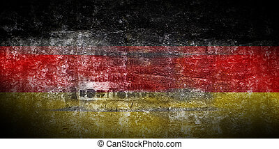 Grungy Flag of Germany on stone texture background closeup