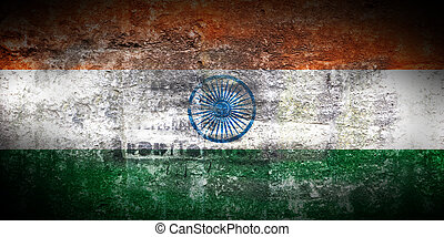 Grungy Flag of India on stone texture background closeup