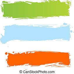 grungy, flerfärgad, baner