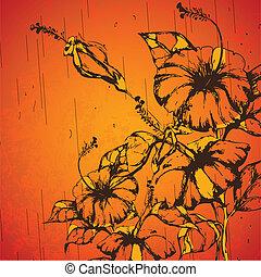 grungy, flor, retro