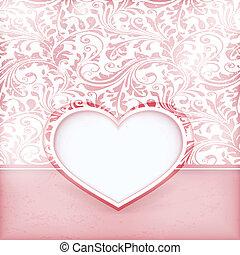 grungy, floreale, invito, scheda, con, amare cuore, etichetta