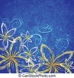 illustration of retro flower on grungy abstract background