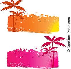 grungy, fondos, árboles de palma