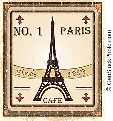Grungy French coffee background - Grungy parisian coffee...