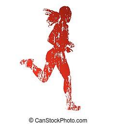 grungy, futás, nő