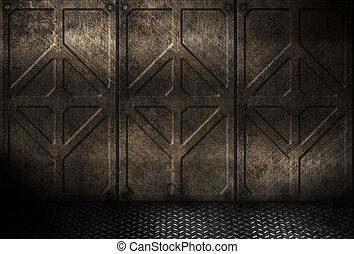 grungy, galvanizál, ipari, fém, szoba