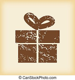Grungy gift box icon - Grungy brown icon with image of gift...